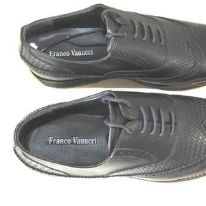 Franco Vanucci Shoes - Men's Navy Diego Wingtip Oxford Shoes Size 8.5
